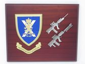 ROYAL REGIMENT OF SCOTLAND ( RRS ) MESS SHIELD WITH LSW & SA80 COMBAT PLAQUE